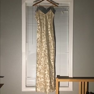 Vintage gold gown prom dress